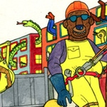 Street construction drawing, by Lisa Hanawalt