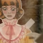 A still from a commercial using Marguerite Sauvage's character design