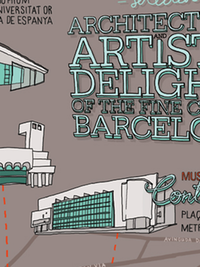Illustrative map of five architectural sights from Barcelona, by Laura Barnard